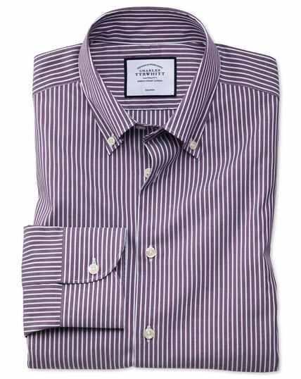 Slim fit business casual non-iron button-down purple and white stripe shirt