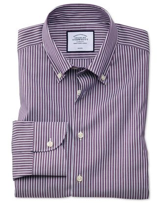 Extra slim fit business casual non-iron button-down purple and white stripe shirt
