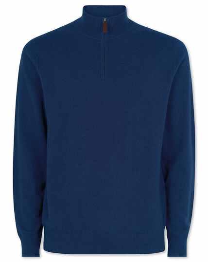 Blue cashmere zip neck jumper