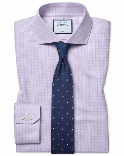 Slim fit cutaway collar non-iron soft twill lilac check shirt