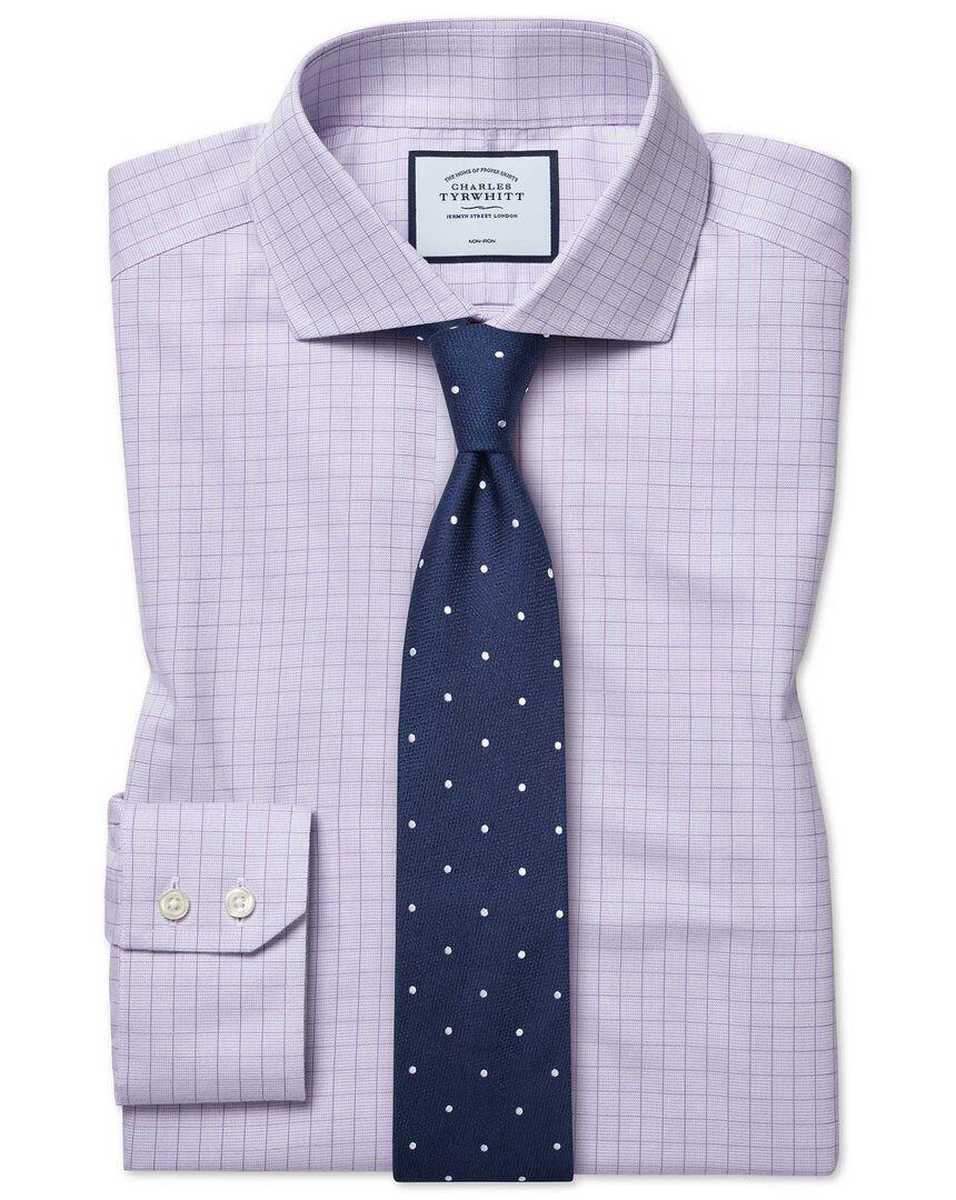 Slim fit cutaway collar non-iron soft twill lilac check shirt