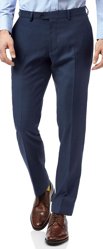 Pantalon de costume business en twill bleu slim fit