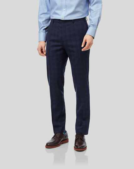 Business Check Suit Trousers - Midnight Blue