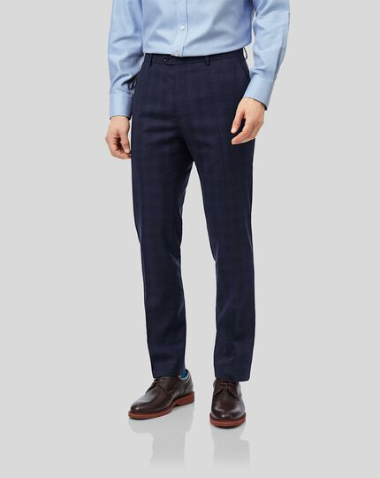 Business Check Suit Pants - Midnight Blue