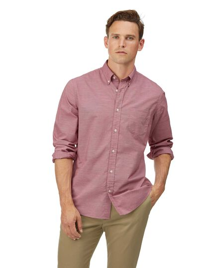 Slim fit soft washed stretch poplin red shirt