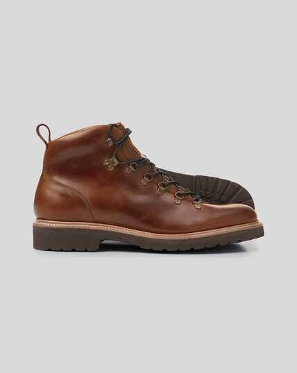 Goodyear Welted Commando Sole Boots - Brown