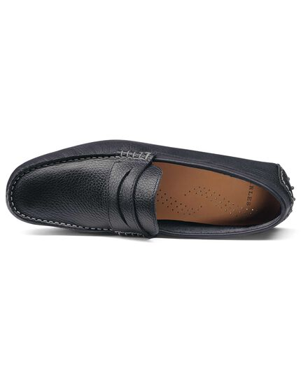 Navy saddle driving loafer