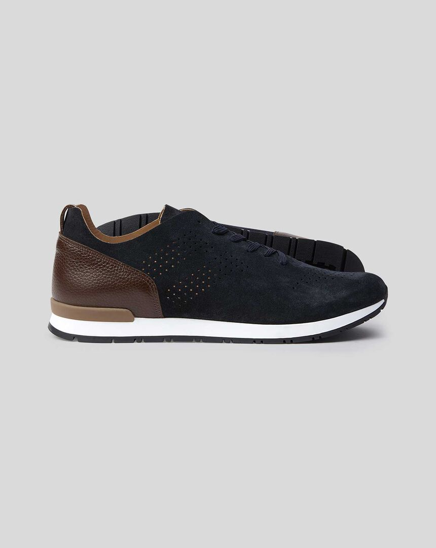 Suede Trainers - Navy & Brown