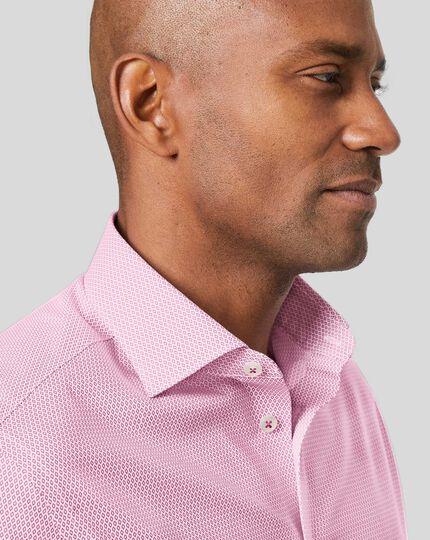 Business Casual Collar Non-Iron Diamond Printed Shirt - Red