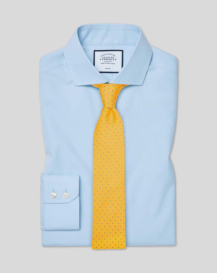 Bügelfreies Tyrwhitt Cool Popeline-Hemd mit Haifischkragen - Himmelblau