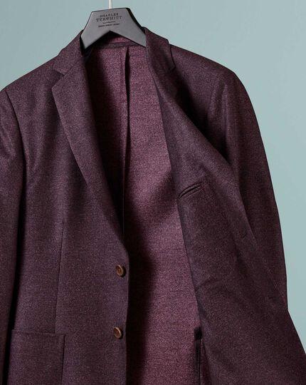 Slim fit berry Italian wool flannel blazer