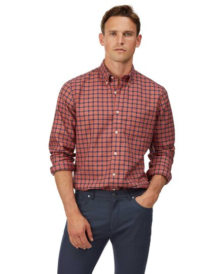 Slim fit soft washed non-iron twill orange and navy windowpane check shirt