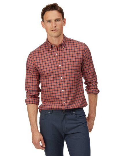 Extra slim fit soft washed non-iron twill orange and navy windowpane check shirt
