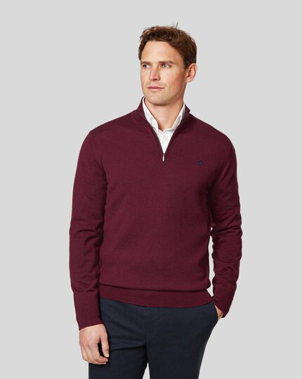 England Rugby Merino Zip Neck Sweater - Burgundy