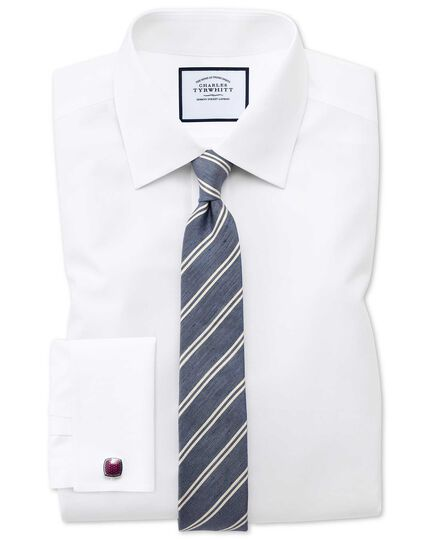 Cravate classique bleu marine et blanche en soie et lin à rayures