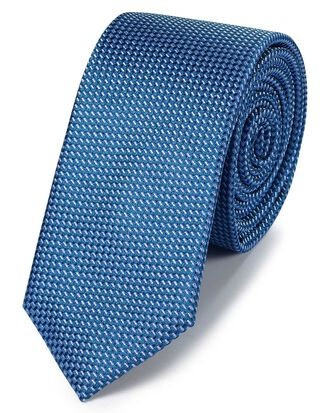 Sky blue silk slim textured semi plain classic tie