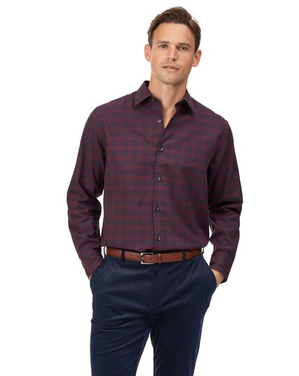Classic fit burgundy check cotton with TENCEL™