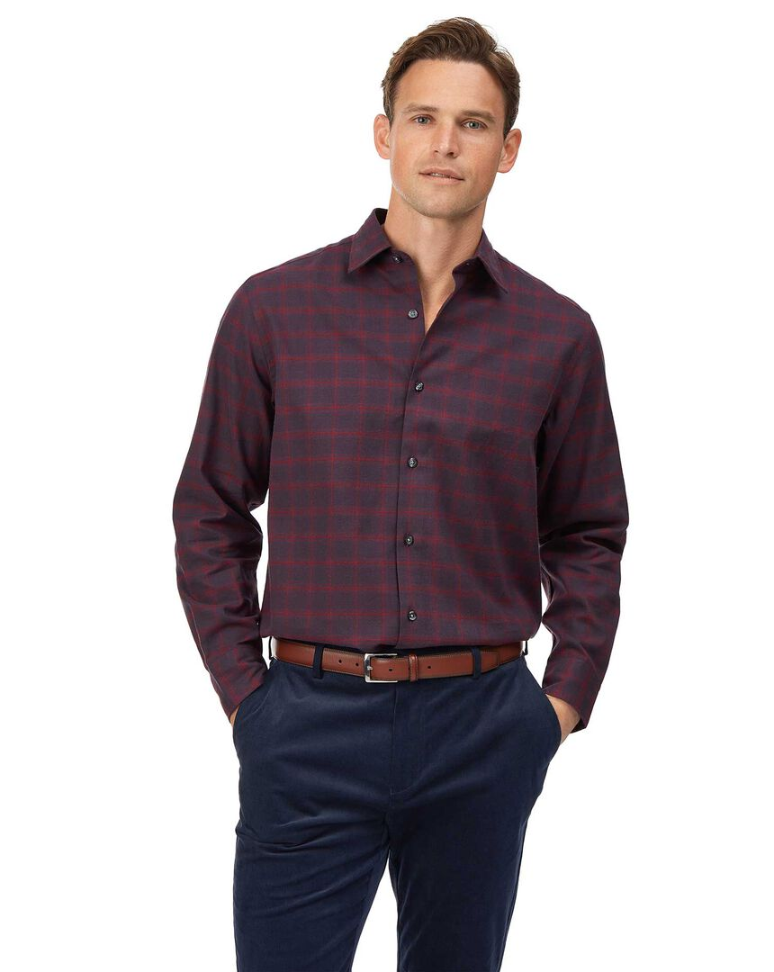 Classic fit cotton with TENCEL™ burgundy check shirt