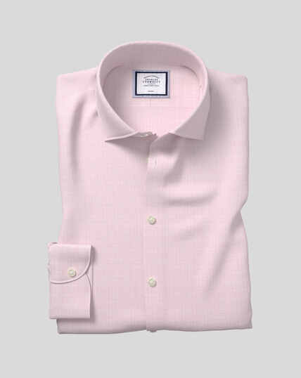 Business Casual Collar Non-Iron Natural Stretch Sketch Shirt - Pink
