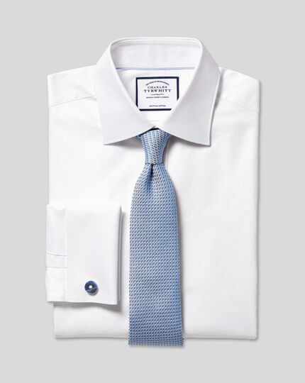 Semi-Spread Collar Egyptian Cotton Herringbone Shirt - White