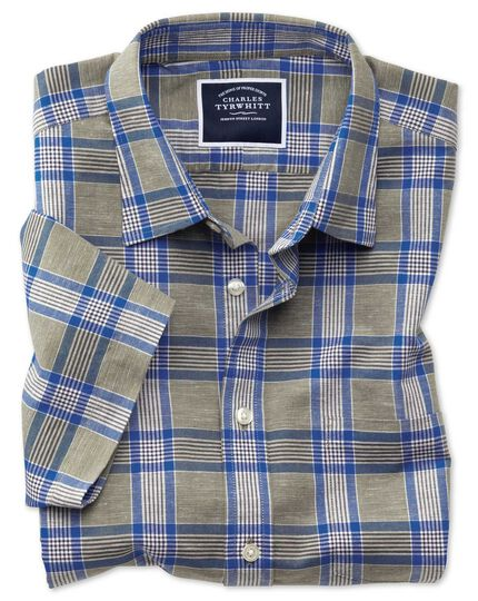 Slim fit cotton linen short sleeve khaki check shirt
