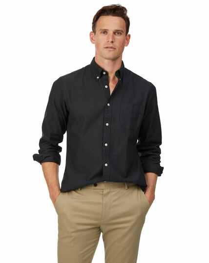 Zwartgrijs gewassen Oxford-overhemd met buttondown-kraag, slanke pasvorm