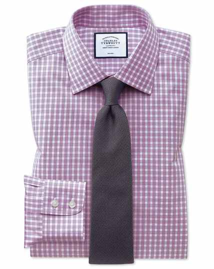 Classic fit non-iron twill berry gingham shirt