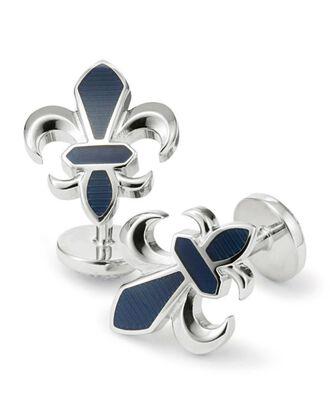 Navy enamel Fleur-de-Lys cufflinks