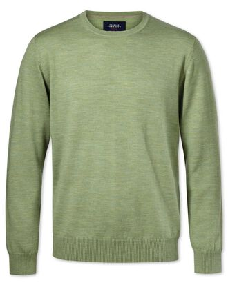 Light green merino wool crew neck jumper