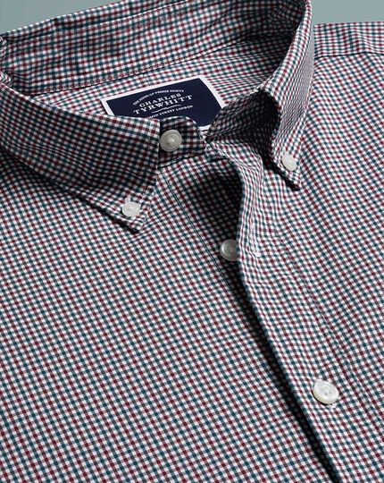 Extra slim fit soft washed non-iron stretch poplin red and blue check shirt