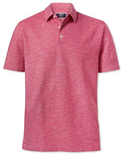 Polo rose foncé en coton et lin