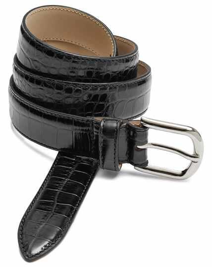 Black leather croc embossed smart belt