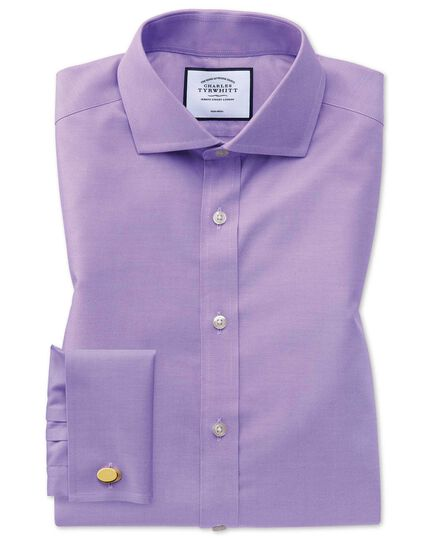 Extra slim fit lilac non-iron twill spread collar shirt