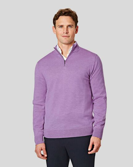 Merino Zip Neck Jumper - Lilac