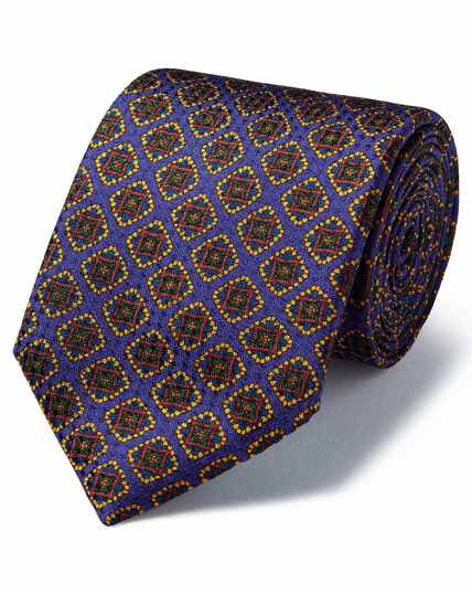 Purple silk medallion print textured English luxury tie