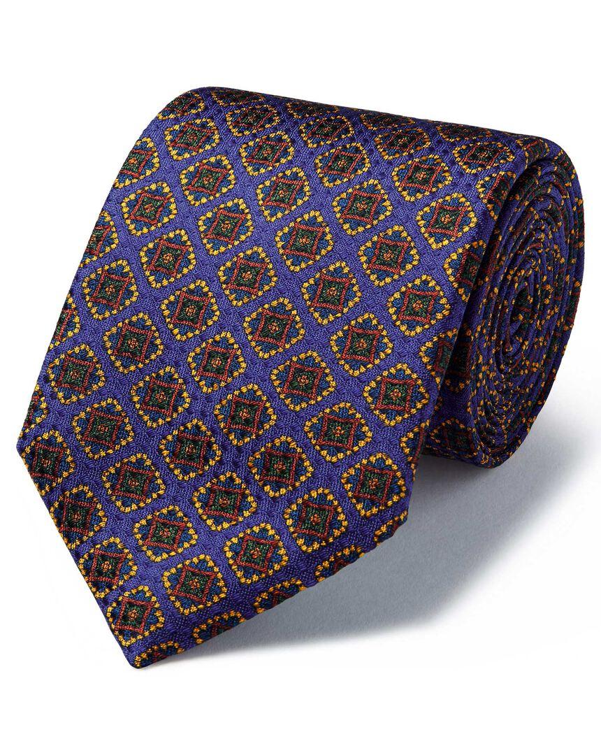 Purple silk medallion print textured English luxury tie