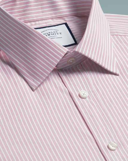 Slim fit poplin fine stripe pink shirt