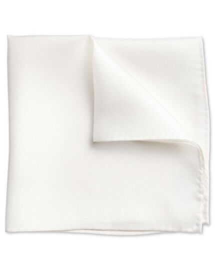 White evening silk pocket square