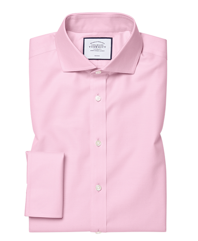 Extra slim fit cutaway collar pink non-iron twill shirt