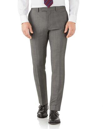 Silver slim fit Italian sharkskin luxury check suit pants