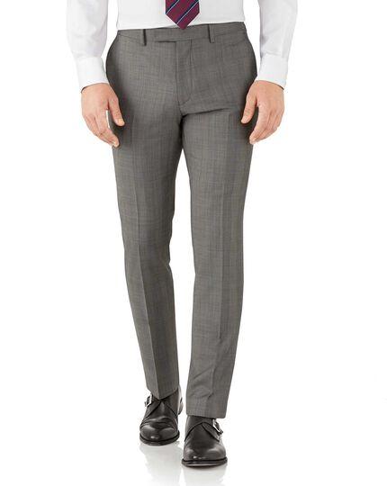 Slim Fit Luxus Anzug Hose aus italienischem Sharkskin in Silber mit Karos