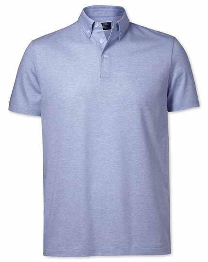 Sky blue cotton linen polo