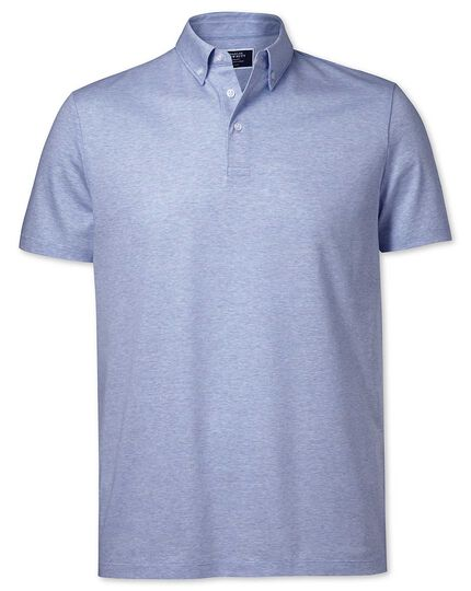 Sky blue cotton linen polo