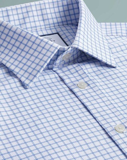 Egyptian Cotton Royal Oxford Check Shirt - Sky Blue