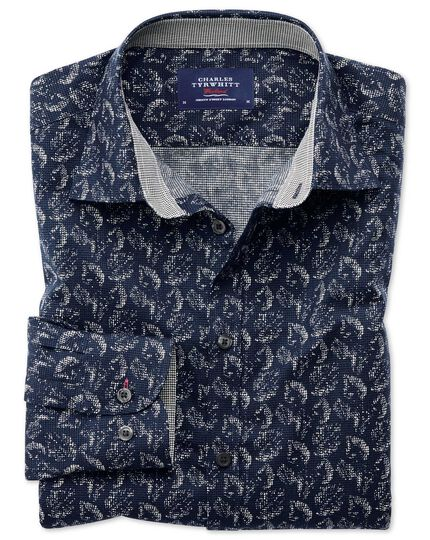 Chemise bleu foncé slim fit avec imprimé feuille