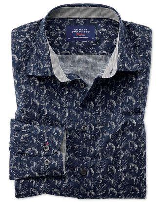 Chemise bleu foncé avec imprimé feuille extra slim fit