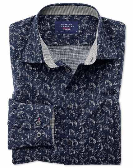 Extra slim fit dark blue leaf print shirt