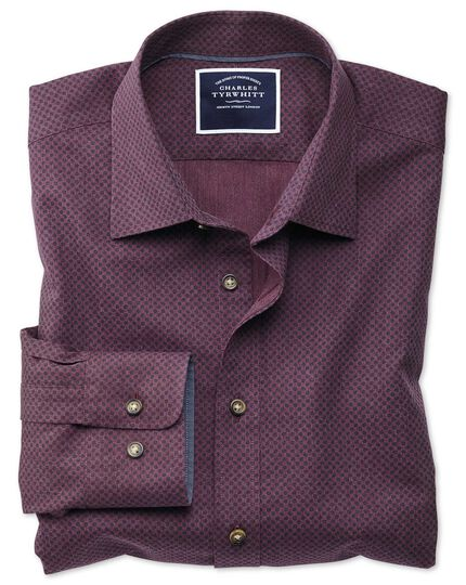 Slim fit burgundy spot print shirt