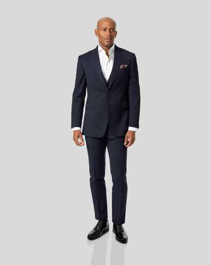 Stripe Birdseye Travel Suit - Navy