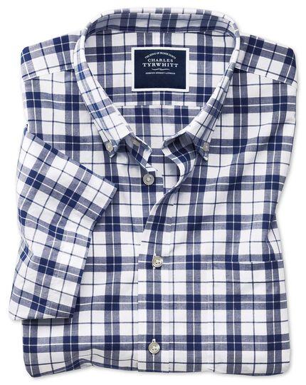 Chemise bleu marine et blanche en popeline coupe droite à manches courtes